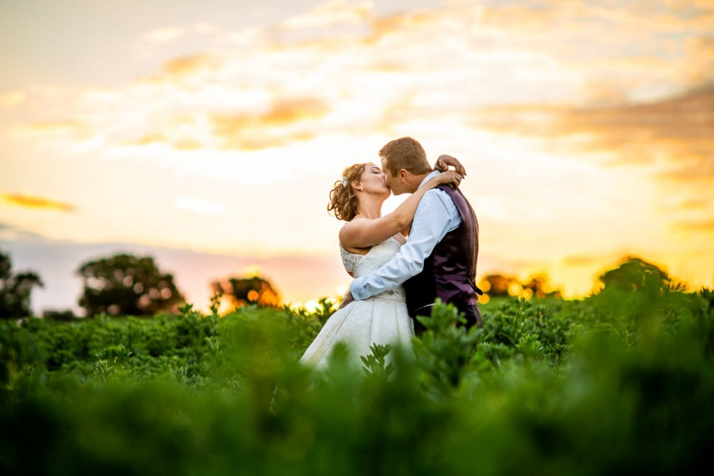 Hunters Hall, wedding Day, Anastasia, Terry, field, sunset
