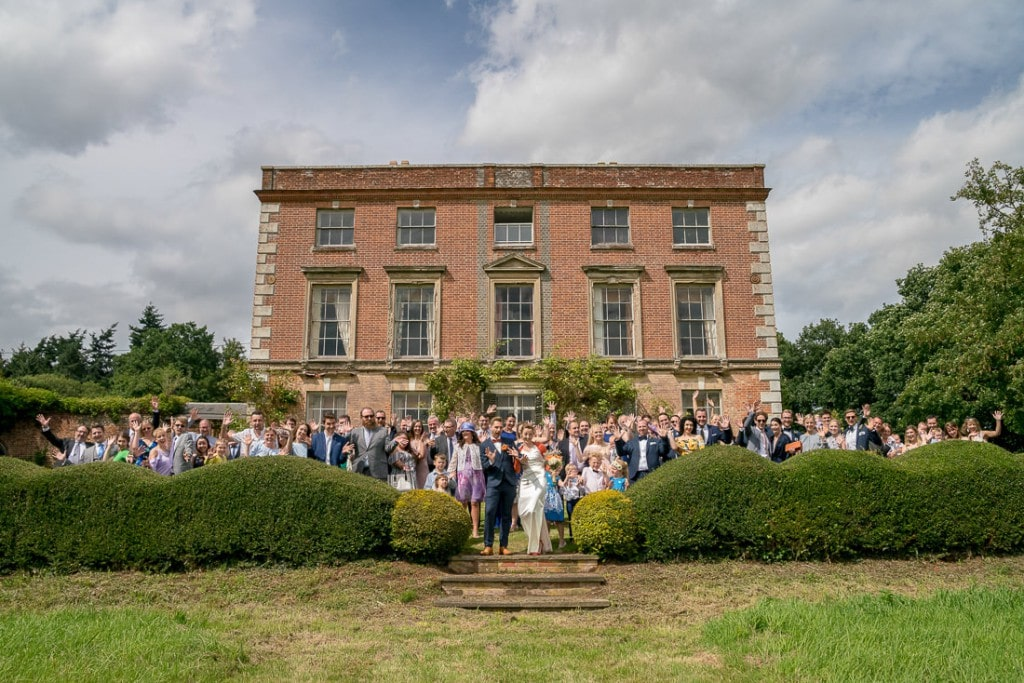 Holly & Rick congregation group shot at Thurning Hall