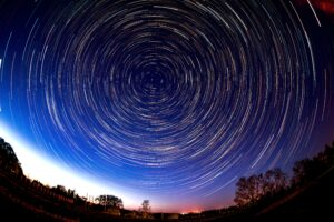 startrail of the night sky facing north