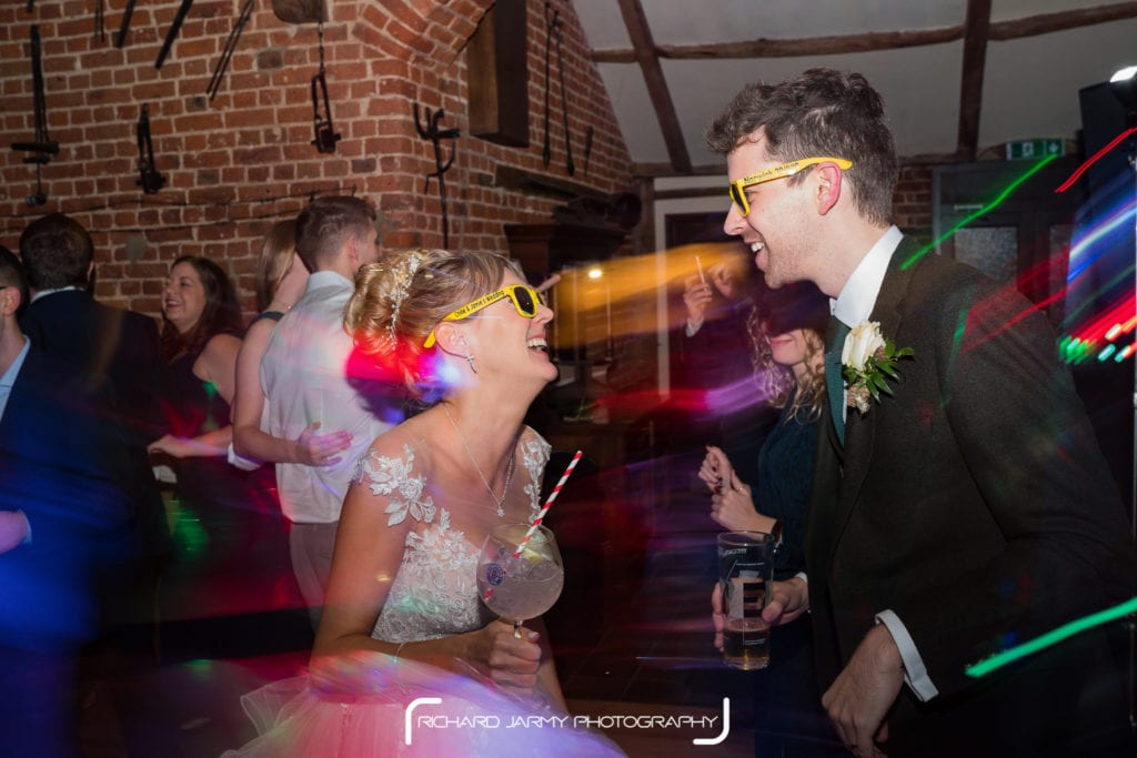 Chloe & Jamie partying on their wedding day at Hunters Hall